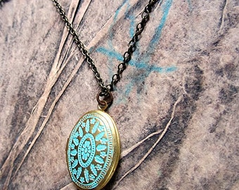 Verdigris - Antique Patina brass locket long necklace