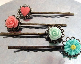 heart , pink rose, mint rose, daisy hair bobby pin choose your own 4pcs