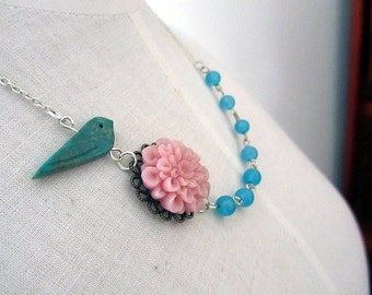 in your garden  necklace bluebord pink mum blue glass connected necklace
