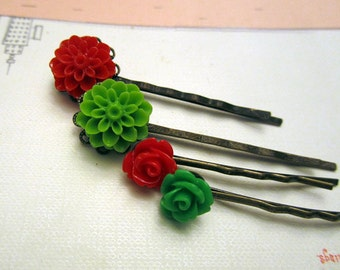 4pcs red and green flower hair bobby pin