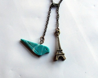 French bird - turquoised stone bird and effiel towel bronze chain lariat necklace