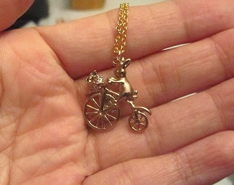 Rabbit delivery flower gold filled charm