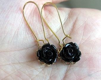 Romantic Black rose cabochon kidney hook earring