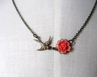 Afternoon tea - Antique sparrow coral red rose antique chain necklace
