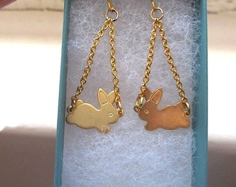 Jumping Bunny chain dangle earring gift for easter mothers day wedding