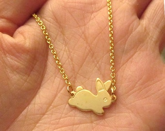 Bunny connected necklace gold filled gift for easter