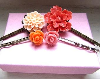 Between pink and orange - orange and pink rose orangecream mum, coral sakura blossom mix match