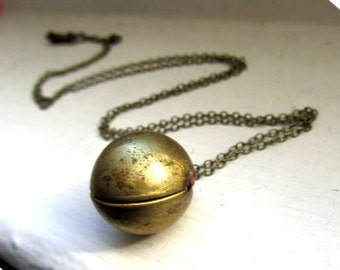 Antique Vintage ball locket long necklace antique bronze chain