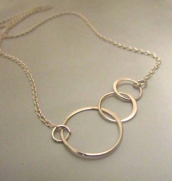 Three circle link sterling silver necklace chain and pendant wedding bridemaids gift