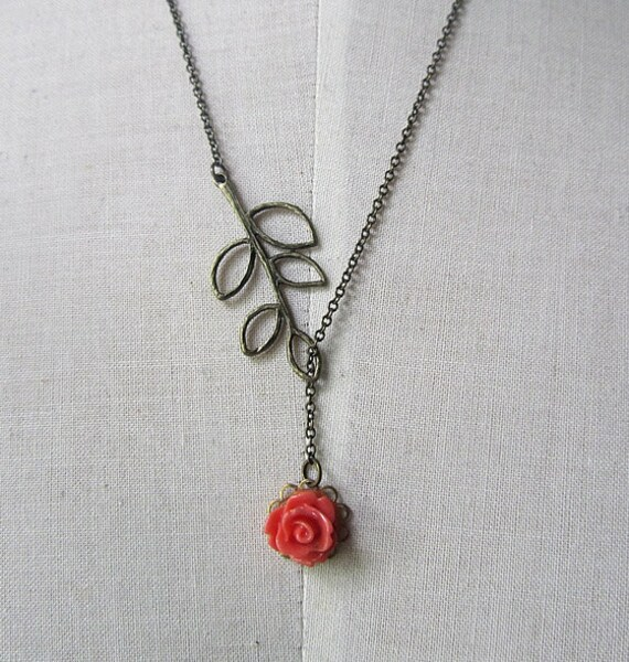 Leave branch with coral rose assymetric Lariat  necklace antique bronze chain