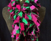 Reclaimed Fabric Boa Scarf...Hot Pink and Electric Green