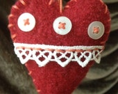 Primitive Felted Recycled Heart Ornament