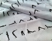 "13.5""x18"" Yoga B - Original Organic Cotton Fabric Piece , Black on White"