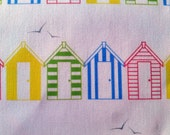 "Beach Huts - Original Organic Cotton Fabric Piece 8""x8"""