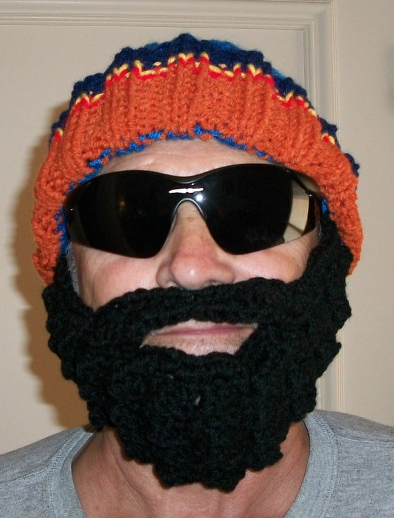 Knitted Blue & Orange Ribbed Hat with Crocheted Black Beard