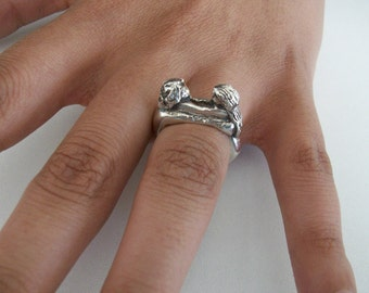 Embracing Lovers Sterling Silver Ring