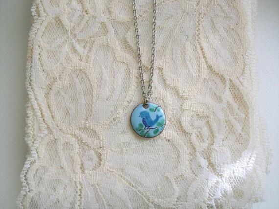Bluebird Copper Enameled Necklace