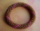 Caramel and Rose Crochet Bead Bracelet