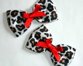 White Leopard Print and Red Hair Bows - 25% off CLEARANCE SALE