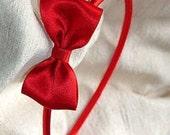 Red Satin Hair Bow Headband - CLEARANCE SALE 25% Off