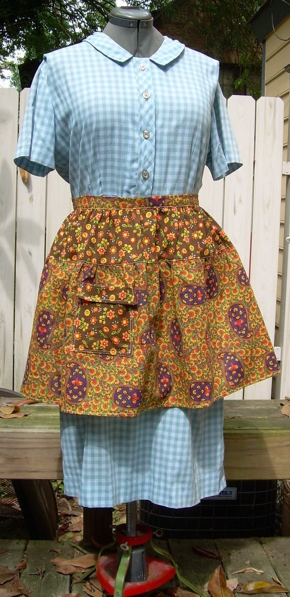 Calico and Paisley Half Apron