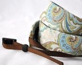 dSLR Camera Strap - Blue, Green, Brown Paisley - Camera Straps for Nikon, Canon, Pentax, Olympus, Sony etc