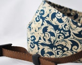 Camera Strap - Ocean Blue, Cream Damask with Chocolate Brown Webbing- damask Camera Strap - Free Shipping