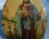 Jesus and His Flock of Lambs ..Antique oval wall plaque