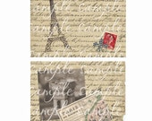 Paris French Collage on Vintage paper digital Instant download for scrapbookings, albums, journals, altered art, ACEO, ATC, hang tags charms