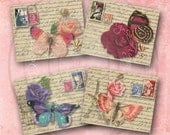 Parisian Butterflies and Roses Digital Instant Download for Notecards, ATC's, ACEO, altered art