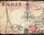 Parisian Eiffel Tower & Arc de Triumphe Digital Collage Instant Download for notecards, ACEOs, altered art, scrapbooking