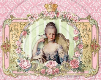 Marie Antoinette French Digital Collage Damask & Roses Instant Download for notecards, ACEO's, hang tags, backgrounds
