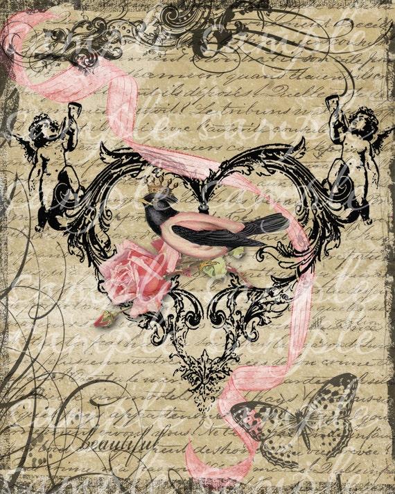Victorian Hearts & Flowers Digital Download Collage Art Print