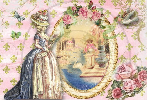 Marie Antoinette French Digital Collage for notecards, decoupage, hang tags, ACEO's Instant Download