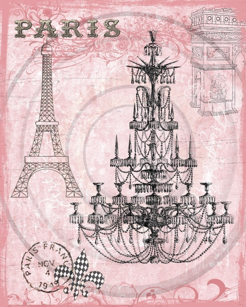 Paris Pink Chandelier French Digital Collage For Hang Tags