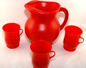 Vintage Koolaid Pitcher with Three Cups