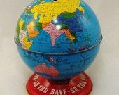 Coin Bank - Vintage Tin Litho Ohio Arts Co. 'World Bank' 1950's Savings Bank