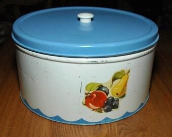 Cottage Kitchen - Vintage Metal Cake Cookie Tin  - 1940's
