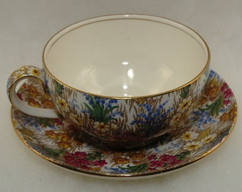 Vintage English Chintz Gentleman's Cup and Saucer Royal Winton 'Marguerite' - 1930's