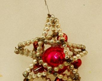 Christmas Ornament - Very Early Mercury Glass Beaded Ornament