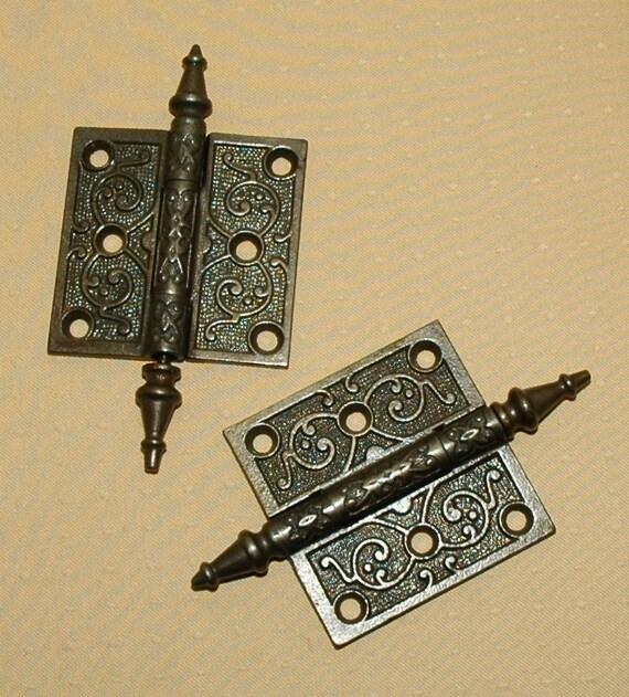 Antique Victorian Door Hinges - Set of Three Matching