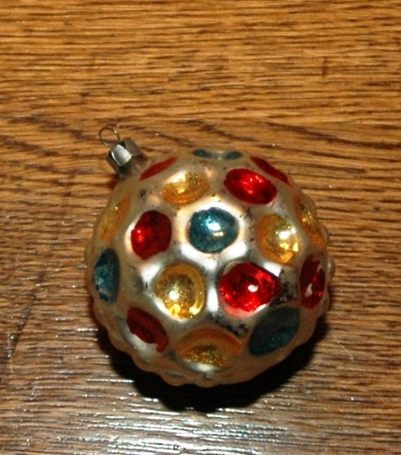 Vintage Mercury Glass Multifaceted Orb Christmas Ornament