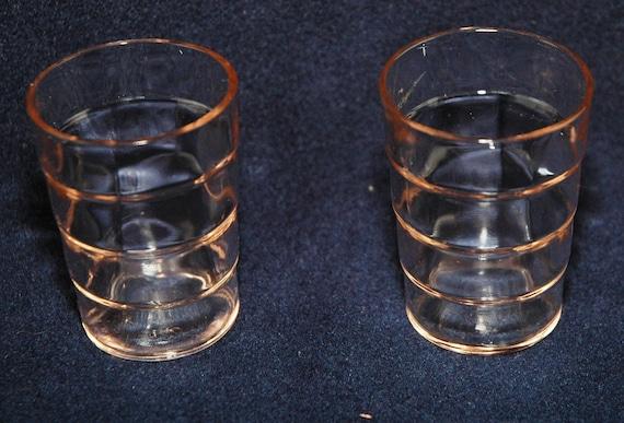Depression Glass Pink Block Optic Whiskey Glasses - Set of 2