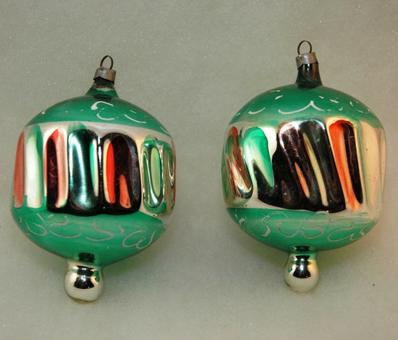 Early Vintage Mercury Glass Christmas Ornaments - Set of 2