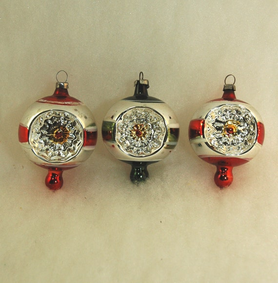 Reflector Ornaments - Vintage Mercury Glass Christmas Poland Ornaments - Set of 3