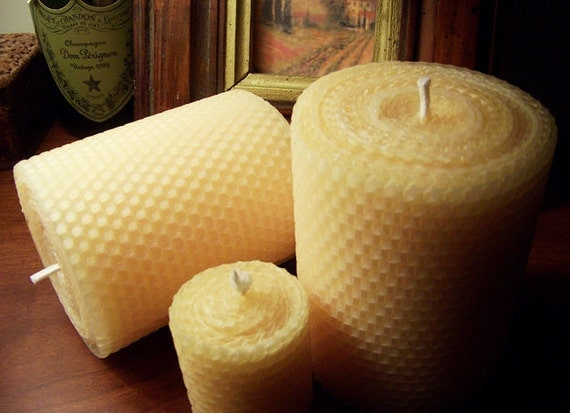 Candles, Beeswax Candle, HOLIDAY SALE, Pillar Candle, 4x4 Pillar, Beeswax