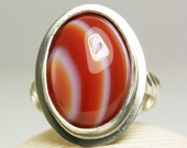 Sterling Silver Natural Stone Ring Handmade Agate Cabochon Retro Stipes-made to order in your size