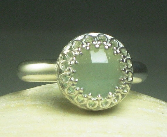 Chalcedony Ring, Sterling Silver, Sea Green Gemstone-Made to Order