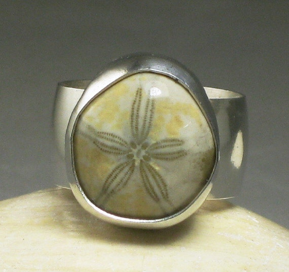 Sterling Silver Sand Dollar Ring, Fossil Starfish Stone, Custom Jewerly, Large Stone, size 8