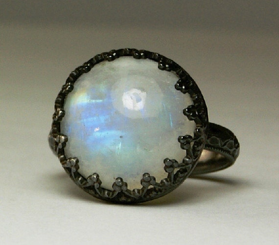 Chunky Moonstone Ring, Gothic Style Moonstone Ring, Blue Fiery Flash, Sterling Silver Ring, Round Stone